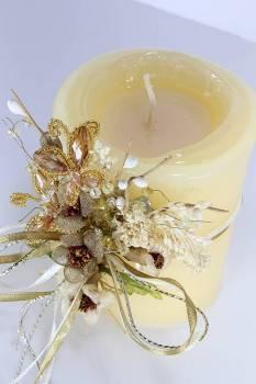 Τυλιχτό εκρού με καφέ μαργαρίτες με άρωμα 8x10 cm
