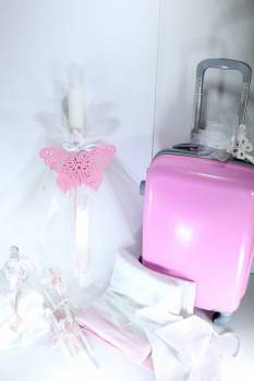set  butterfly  pink lace with roller bag