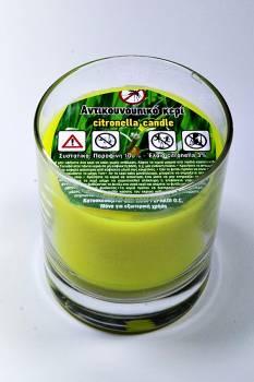 Γυάλινο ποτηράκι 9*8 αντικουνουπικό κερί με citronella