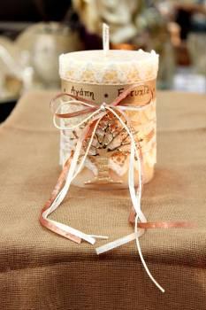 Αρωματικό κερί στολισμένο με ευχές και ροζ-χρυσό δέντρο ζωής 8x10cm