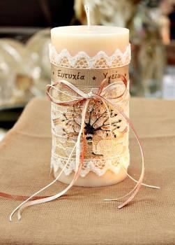 Αρωματικό κερί στολισμένο με ευχές και ροζ-χρυσό δέντρο ζωής 8x15cm