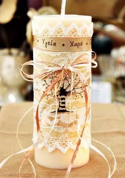 Αρωματικό κερί στολισμένο με ευχές και ροζ-χρυσό δέντρο ζωής 8x20cm