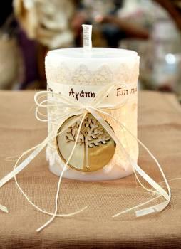 Αρωματικό κερί στολισμένο με ευχές και γούρι 8x10cm