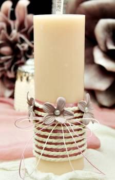 Αρωματικό κερί στολισμένο με κορδόνι και σάπιο μήλο λουλούδια 6.50x20cm