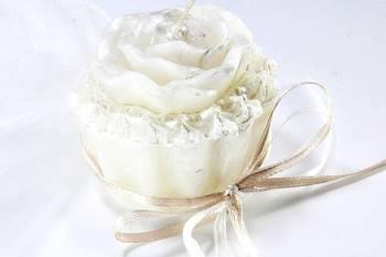 Κέρινο cup cake λουλούδι 7*6*5 σατινέ