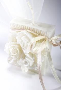Κέρινο πλακέ 3d λουλούδι 6*6*3.5 σατινέ