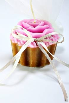 Κέρινο cup cake λουλούδι 2χρωμο 7*6*5 cm