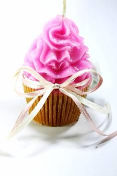 Κέρινο cup cake ροζ-καφέ 8*5 cm