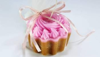 Κέρινο cup cake ροζ-καφέ 6*4 cm