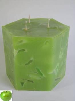 Κερί εξάγωνο με κομμάτια και άρωμα μήλο