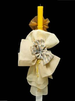Yellow  candle  with  plaid  bow