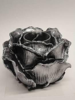 Τριαντάφυλλο με ποτήρι ρεσώ 12x14cm (Medium) - Μαύρο