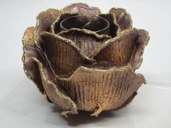 Τριαντάφυλλο με ποτήρι ρεσώ 12x14cm (Medium) - Καφέ Περλέ
