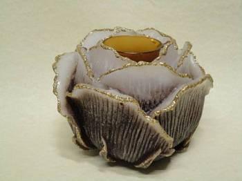 Τριαντάφυλλο με ποτήρι ρεσώ 12x14cm (Medium) - Άσπρο/Καφέ