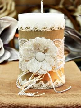 Χειροποίητο διακοσμητικό αρωματικό κερί με λουλούδι από γάζα  10x15cm