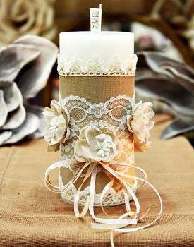 Χειροποίητο διακοσμητικό αρωματικό κερί με λουλούδια από γάζα και δαντέλα 6,50x15cm