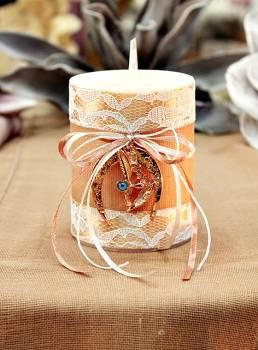 Χειροποίητο διακοσμητικό αρωματικό κερί με γούρι μπρονζέ πέταλο με μάτι 8x10cm