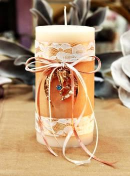 Χειροποίητο διακοσμητικό αρωματικό κερί με γούρι μπρονζέ πέταλο με μάτι 8x15cm