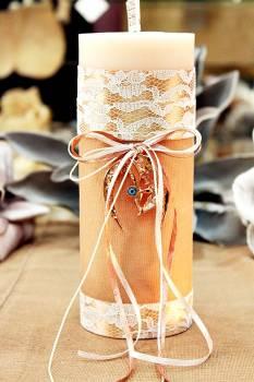 Χειροποίητο διακοσμητικό αρωματικό κερί με γούρι μπρονζέ πέταλο με μάτι 8x20cm
