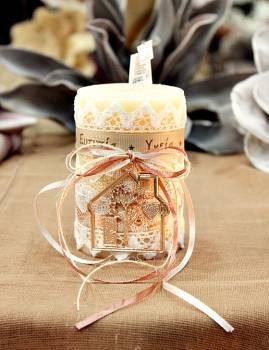 Χειροποίητο διακοσμητικό αρωματικό κερί με μεταλλικό μπρονζέ σπίτι 6,50x10cm